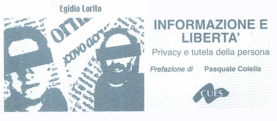 """""""Informazione e Libertà."""" Edizioni CUES, Fisciano (SA) ottobre 2001. Copertina"""